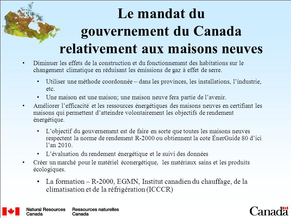 Le mandat du gouvernement du Canada relativement aux maisons neuves Diminuer les effets de la construction et du fonctionnement des habitations sur le changement climatique en réduisant les émissions de gaz à effet de serre.
