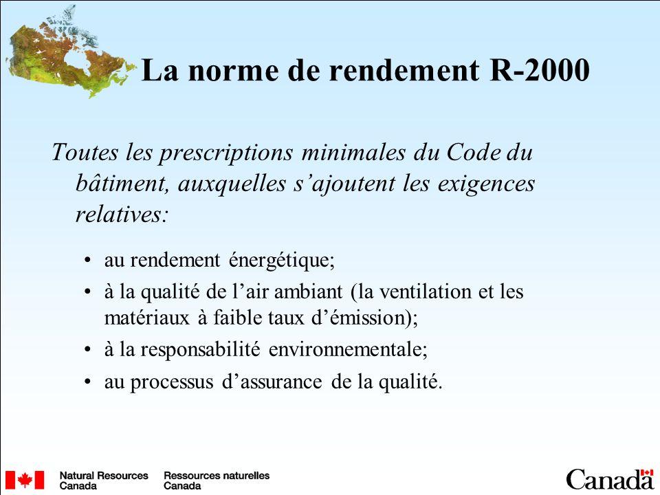 La norme de rendement R-2000 Toutes les prescriptions minimales du Code du bâtiment, auxquelles sajoutent les exigences relatives: au rendement énergétique; à la qualité de lair ambiant (la ventilation et les matériaux à faible taux démission); à la responsabilité environnementale; au processus dassurance de la qualité.