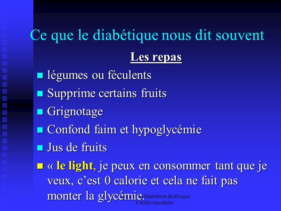 Maison du Diabète et du Risque Cardiovasculaire Ce que le diabétique nous dit souvent Les repas légumes ou féculents légumes ou féculents Supprime certains fruits Supprime certains fruits Grignotage Grignotage Confond faim et hypoglycémie Confond faim et hypoglycémie Jus de fruits Jus de fruits « le light, je peux en consommer tant que je veux, cest 0 calorie et cela ne fait pas monter la glycémie.