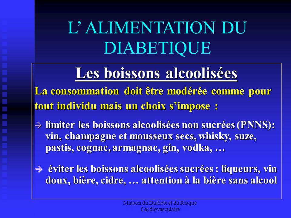 Maison du Diabète et du Risque Cardiovasculaire L ALIMENTATION DU DIABETIQUE Les boissons alcoolisées La consommation doit être modérée comme pour tou