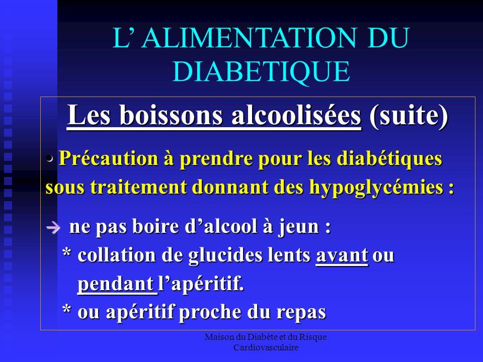 Maison du Diabète et du Risque Cardiovasculaire L ALIMENTATION DU DIABETIQUE Les boissons alcoolisées (suite) Précaution à prendre pour les diabétique