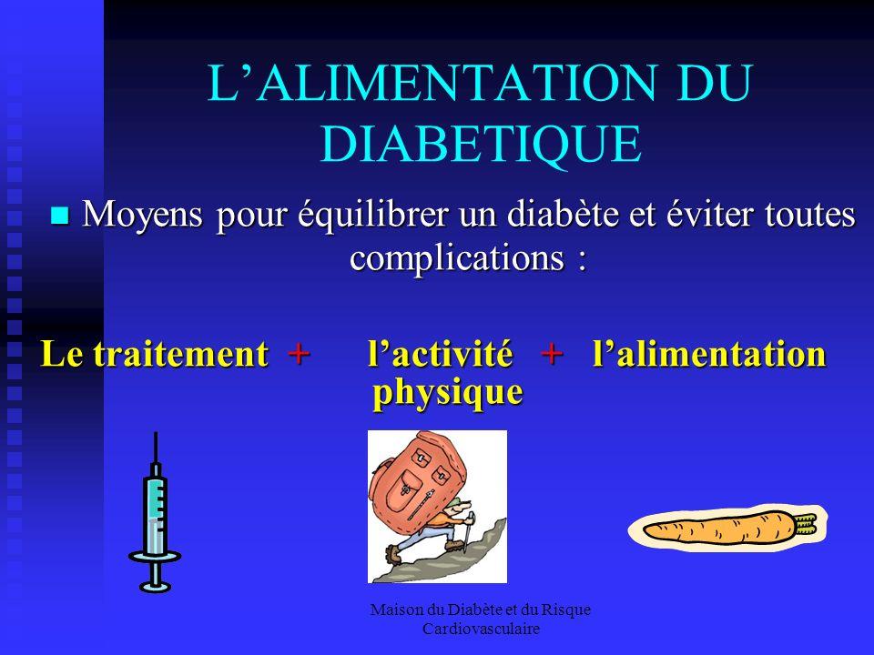 Maison du Diabète et du Risque Cardiovasculaire LALIMENTATION DU DIABETIQUE Moyens pour équilibrer un diabète et éviter toutes complications : Moyens