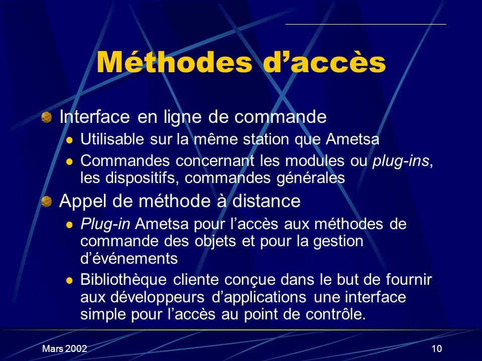 Mars 200210 Méthodes daccès Interface en ligne de commande Utilisable sur la même station que Ametsa Commandes concernant les modules ou plug-ins, les