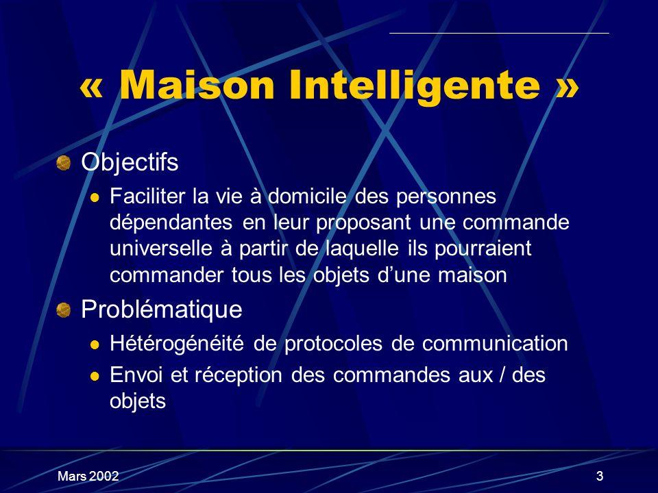 Mars 20023 « Maison Intelligente » Objectifs Faciliter la vie à domicile des personnes dépendantes en leur proposant une commande universelle à partir