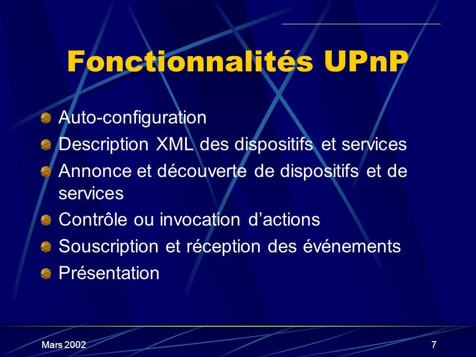 Mars 20027 Fonctionnalités UPnP Auto-configuration Description XML des dispositifs et services Annonce et découverte de dispositifs et de services Con