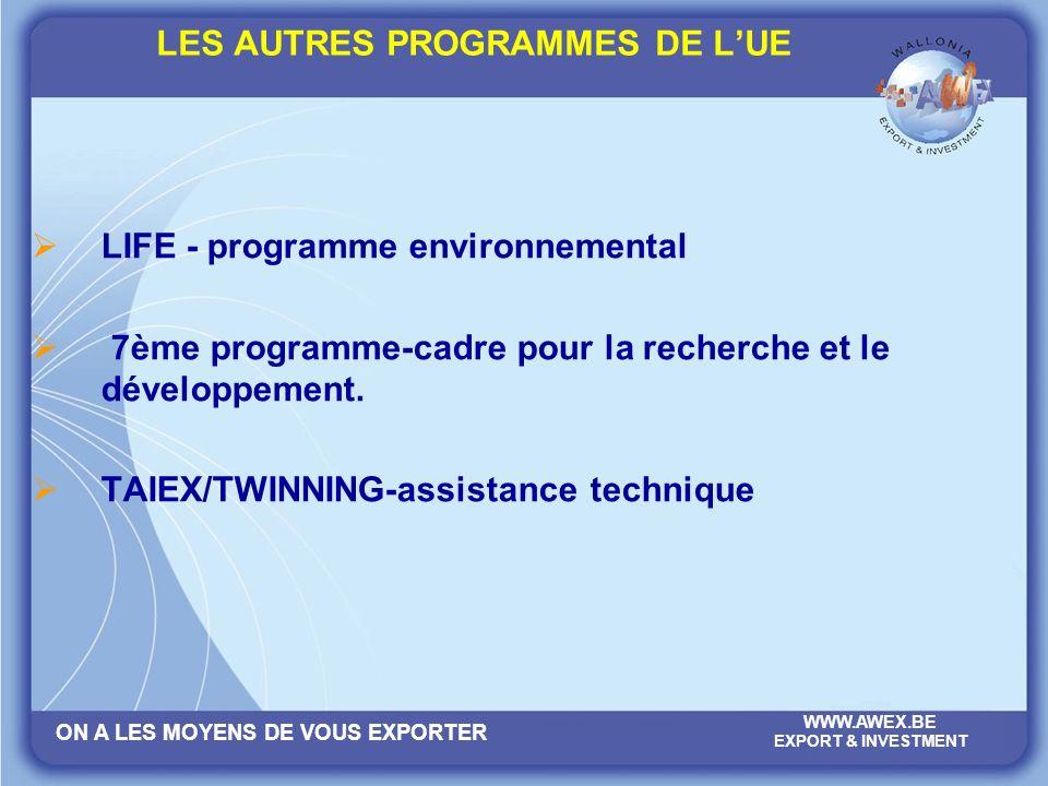 ON A LES MOYENS DE VOUS EXPORTER WWW.AWEX.BE EXPORT & INVESTMENT LES AUTRES PROGRAMMES DE LUE LIFE - programme environnemental 7ème programme-cadre pour la recherche et le développement.