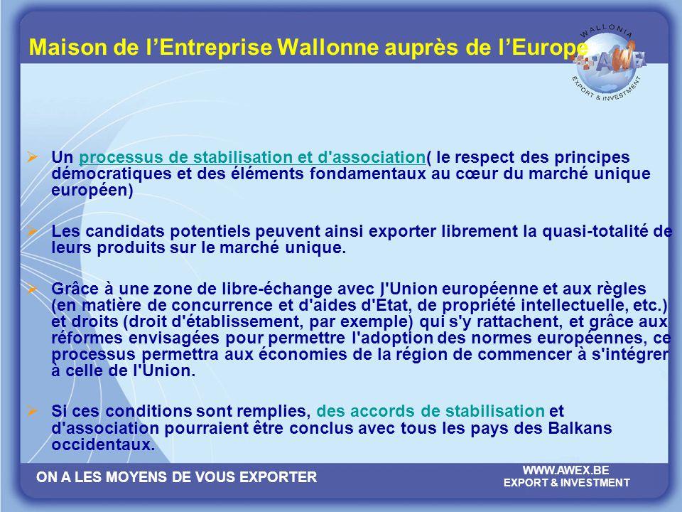 ON A LES MOYENS DE VOUS EXPORTER WWW.AWEX.BE EXPORT & INVESTMENT Maison de lEntreprise Wallonne auprès de lEurope Milena GVOZDEN Attachée EUROPE Représentation de la Belgique auprès de l Union européenne Maison de l Entreprise Wallonne auprès de l Europe - MEWE (AWEX) Rue de la Loi, 61-63 1040 Bruxelles Tel: +32 2 233 03 95 GSM: +32 484 59 06 06 Fax: +32 2 280 12 73 e-mail: milena.gvozden@diplobel.fed.bemilena.gvozden@diplobel.fed.be www.awex.be
