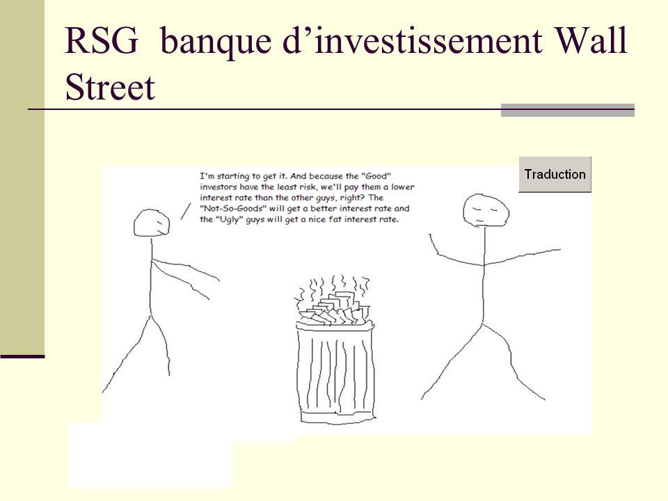 RSG banque dinvestissement Wall Street