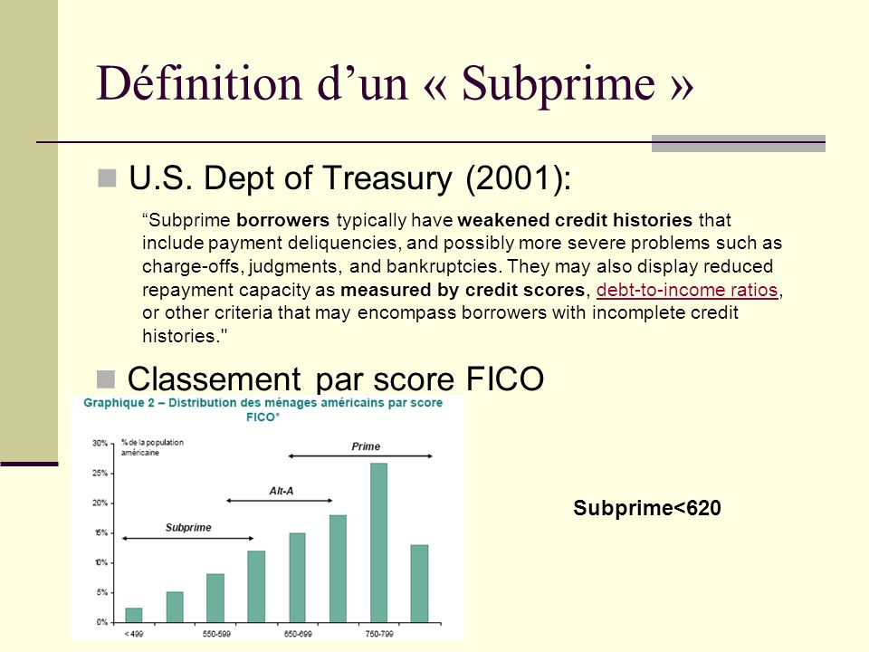 Définition dun « Subprime » U.S. Dept of Treasury (2001): Subprime borrowers typically have weakened credit histories that include payment deliquencie