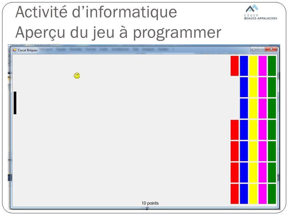 Activité dinformatique Partie 1 But: montrer aux élèves le fonctionnement de loutil de programmation