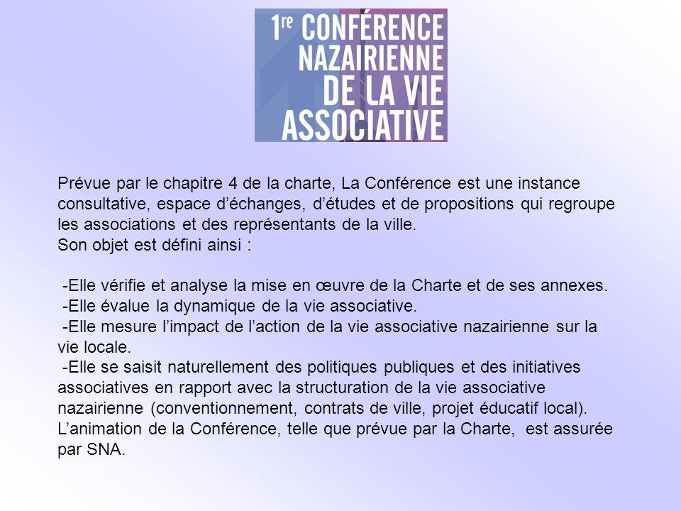 Prévue par le chapitre 4 de la charte, La Conférence est une instance consultative, espace déchanges, détudes et de propositions qui regroupe les associations et des représentants de la ville.