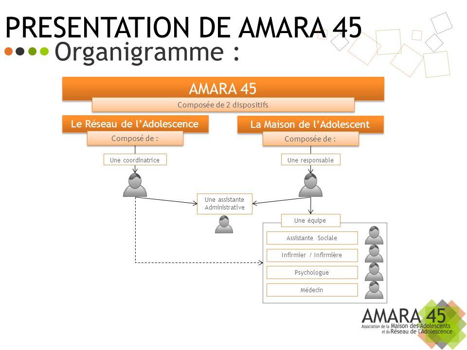 AMARA 45 Composée de 2 dispositifs Le Réseau de lAdolescence Composé de : Une coordinatrice Une assistante Administrative La Maison de lAdolescent Com