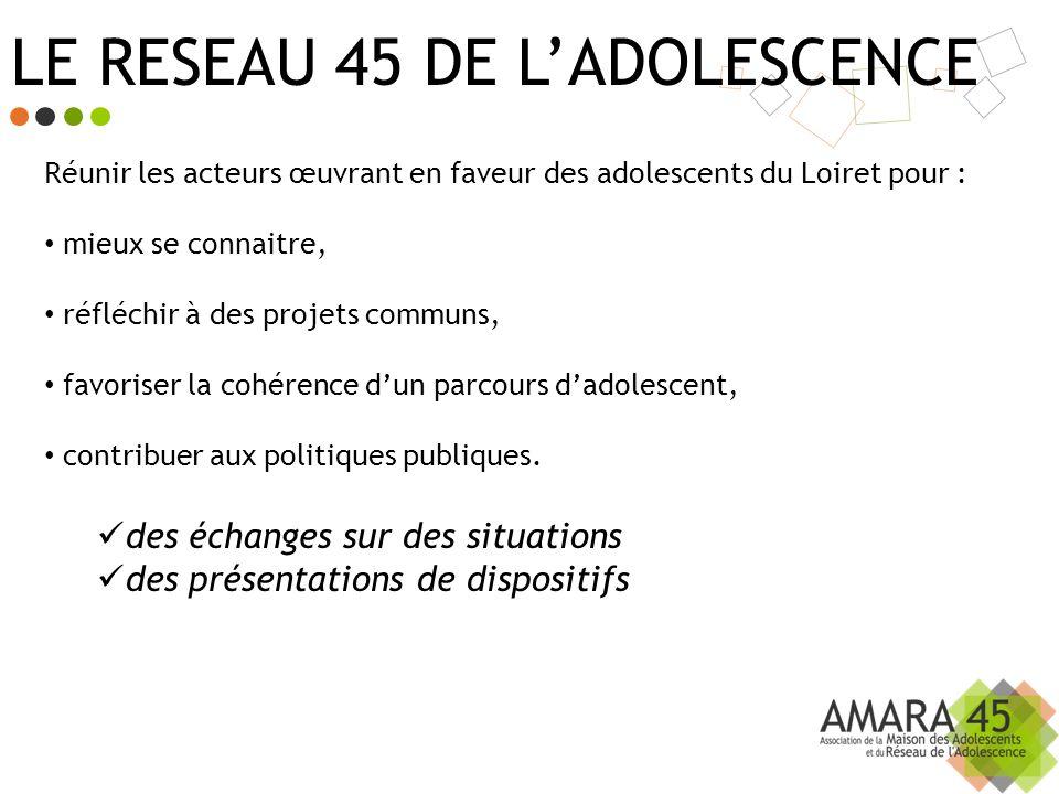 LE RESEAU 45 DE LADOLESCENCE Réunir les acteurs œuvrant en faveur des adolescents du Loiret pour : mieux se connaitre, réfléchir à des projets communs