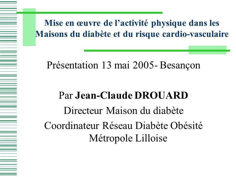 Présentation 13 mai 2005- Besançon Par Jean-Claude DROUARD Directeur Maison du diabète Coordinateur Réseau Diabète Obésité Métropole Lilloise Mise en œuvre de lactivité physique dans les Maisons du diabète et du risque cardio-vasculaire