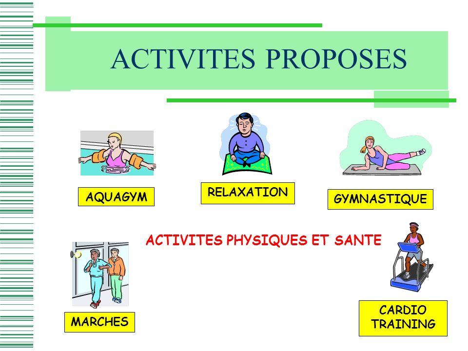 ACTIVITES PROPOSES AQUAGYM MARCHES RELAXATION GYMNASTIQUE CARDIO TRAINING ACTIVITES PHYSIQUES ET SANTE