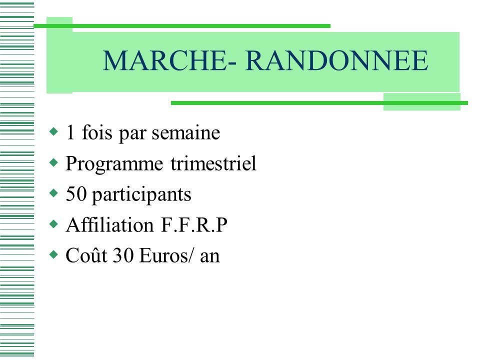 1 fois par semaine Programme trimestriel 50 participants Affiliation F.F.R.P Coût 30 Euros/ an
