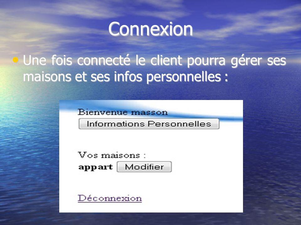 Connexion Une fois connecté le client pourra gérer ses maisons et ses infos personnelles : Une fois connecté le client pourra gérer ses maisons et ses infos personnelles :