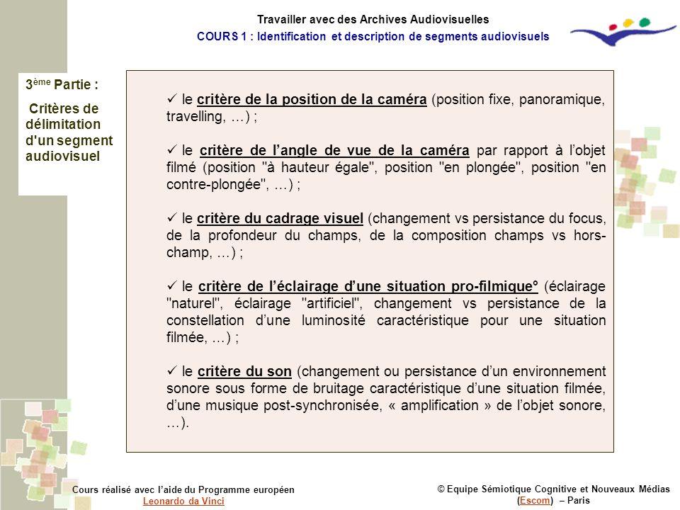 3 ème Partie : Critères de délimitation d'un segment audiovisuel © Equipe Sémiotique Cognitive et Nouveaux Médias (Escom) – ParisEscom Cours réalisé a