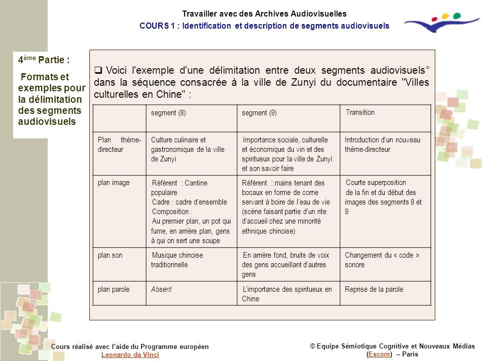 4 ème Partie : Formats et exemples pour la délimitation des segments audiovisuels © Equipe Sémiotique Cognitive et Nouveaux Médias (Escom) – ParisEsco