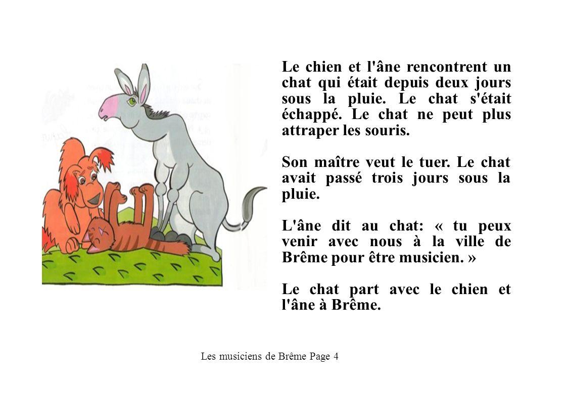 Les musiciens de Brême Page 4 Le chien et l'âne rencontrent un chat qui était depuis deux jours sous la pluie. Le chat s'était échappé. Le chat ne peu
