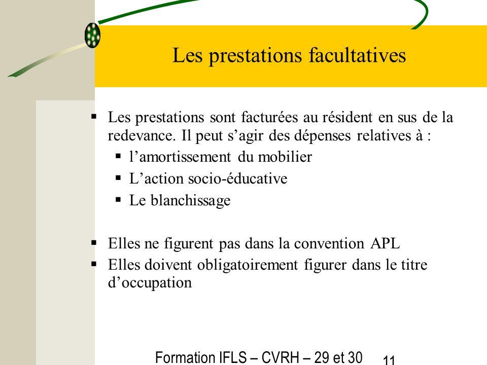 Formation IFLS – CVRH – 29 et 30 mars 2012 11 Les prestations facultatives Les prestations sont facturées au résident en sus de la redevance. Il peut