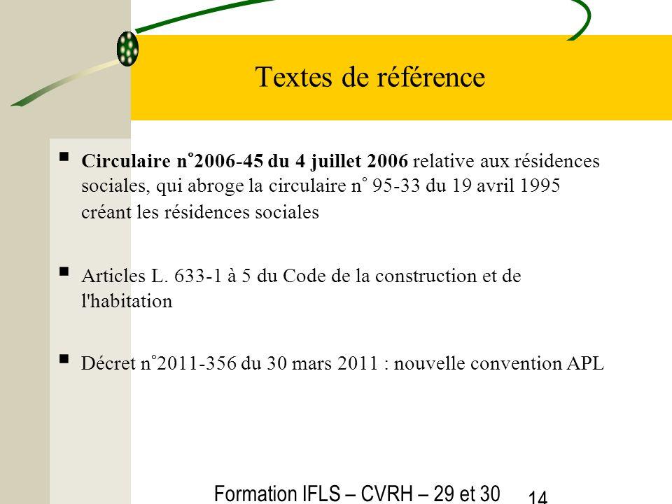 Formation IFLS – CVRH – 29 et 30 mars 2012 14 Textes de référence Circulaire n°2006-45 du 4 juillet 2006 relative aux résidences sociales, qui abroge la circulaire n° 95-33 du 19 avril 1995 créant les résidences sociales Articles L.