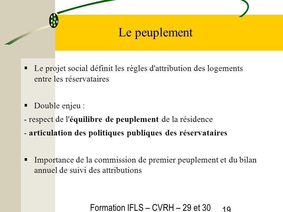 Formation IFLS – CVRH – 29 et 30 mars 2012 19 Le peuplement Le projet social définit les règles d'attribution des logements entre les réservataires Do