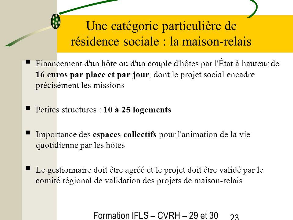 Formation IFLS – CVRH – 29 et 30 mars 2012 23 Une catégorie particulière de résidence sociale : la maison-relais Financement d'un hôte ou d'un couple