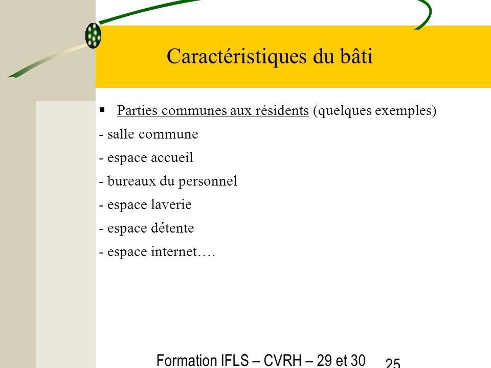 Formation IFLS – CVRH – 29 et 30 mars 2012 25 Caractéristiques du bâti Parties communes aux résidents (quelques exemples) - salle commune - espace acc