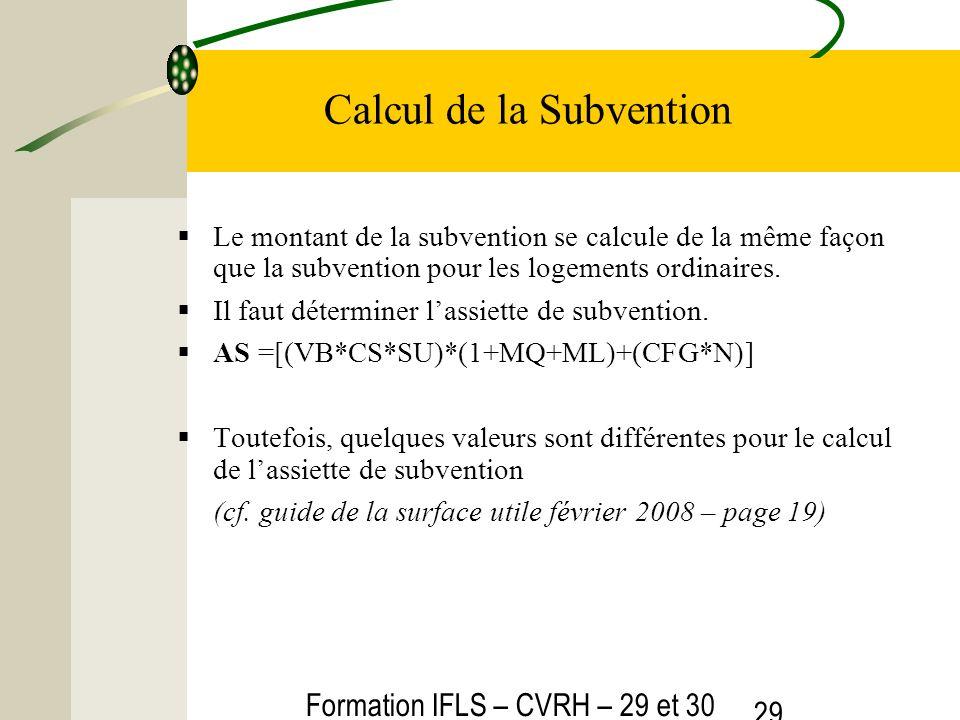Formation IFLS – CVRH – 29 et 30 mars 2012 29 Calcul de la Subvention Le montant de la subvention se calcule de la même façon que la subvention pour les logements ordinaires.