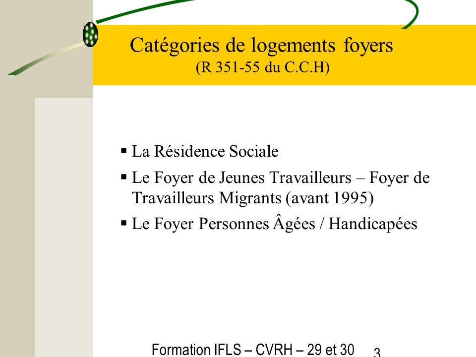 Formation IFLS – CVRH – 29 et 30 mars 2012 3 Catégories de logements foyers (R 351-55 du C.C.H) La Résidence Sociale Le Foyer de Jeunes Travailleurs –