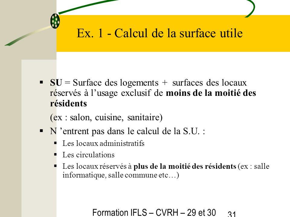 Formation IFLS – CVRH – 29 et 30 mars 2012 31 Ex. 1 - Calcul de la surface utile SU = Surface des logements + surfaces des locaux réservés à lusage ex