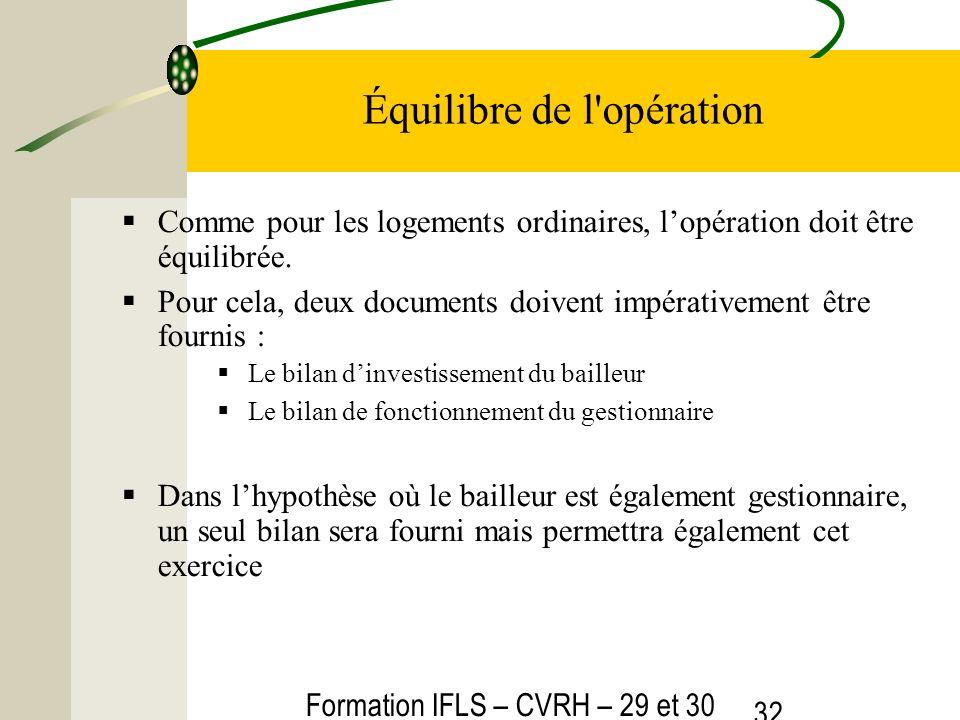 Formation IFLS – CVRH – 29 et 30 mars 2012 32 Équilibre de l'opération Comme pour les logements ordinaires, lopération doit être équilibrée. Pour cela