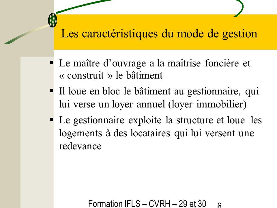Formation IFLS – CVRH – 29 et 30 mars 2012 6 Les caractéristiques du mode de gestion Le maître douvrage a la maîtrise foncière et « construit » le bât