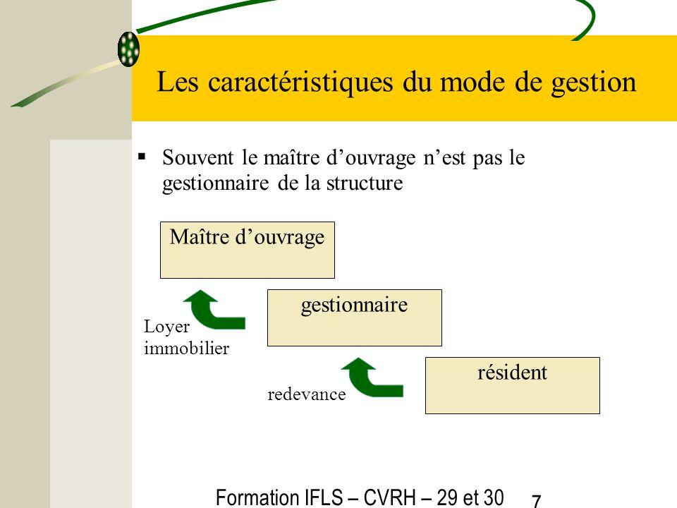 Formation IFLS – CVRH – 29 et 30 mars 2012 7 Les caractéristiques du mode de gestion Souvent le maître douvrage nest pas le gestionnaire de la structu