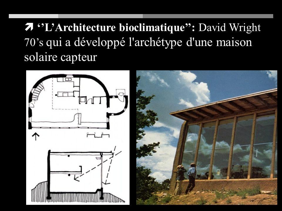 LArchitecture bioclimatique: David Wright 70s qui a développé l archétype d une maison solaire capteur