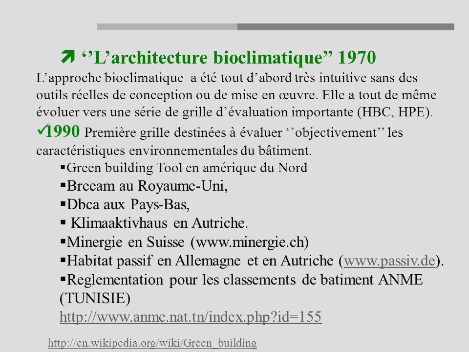Larchitecture bioclimatique 1970 Lapproche bioclimatique a été tout dabord très intuitive sans des outils réelles de conception ou de mise en œuvre.