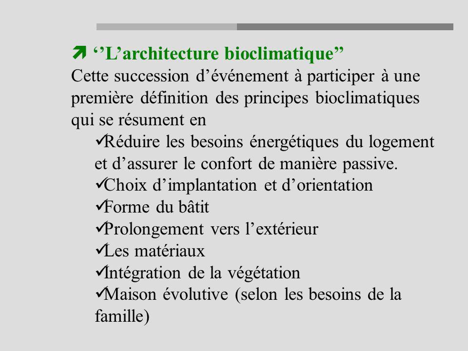 Larchitecture bioclimatique Cette succession dévénement à participer à une première définition des principes bioclimatiques qui se résument en Réduire les besoins énergétiques du logement et dassurer le confort de manière passive.