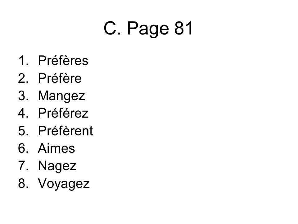 C. Page 81 1.Préfères 2.Préfère 3.Mangez 4.Préférez 5.Préfèrent 6.Aimes 7.Nagez 8.Voyagez