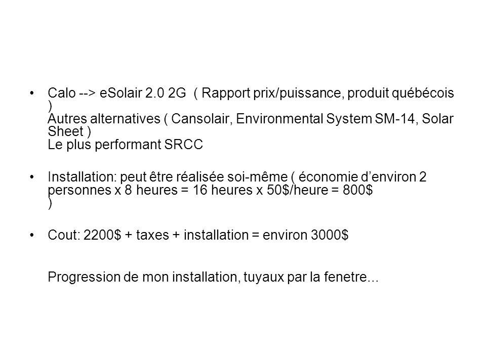 Calo --> eSolair 2.0 2G ( Rapport prix/puissance, produit québécois ) Autres alternatives ( Cansolair, Environmental System SM-14, Solar Sheet ) Le pl