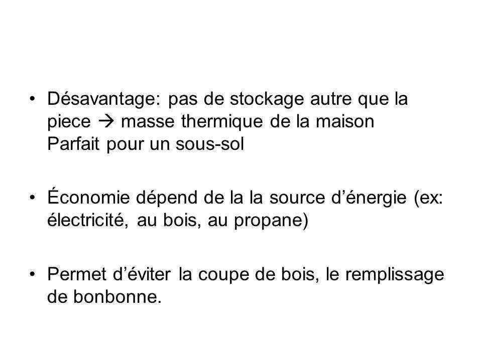 Désavantage: pas de stockage autre que la piece masse thermique de la maison Parfait pour un sous-sol Économie dépend de la la source dénergie (ex: él