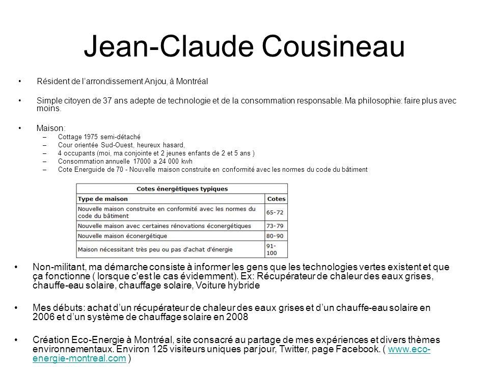 Jean-Claude Cousineau Résident de larrondissement Anjou, à Montréal Simple citoyen de 37 ans adepte de technologie et de la consommation responsable.