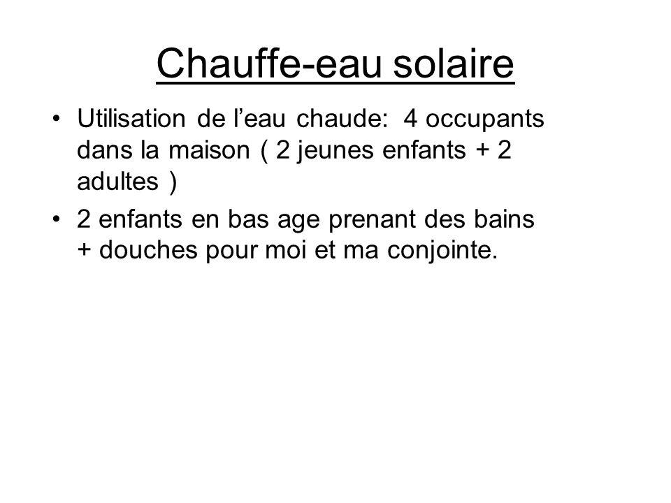 Chauffe-eau solaire Utilisation de leau chaude: 4 occupants dans la maison ( 2 jeunes enfants + 2 adultes ) 2 enfants en bas age prenant des bains + d