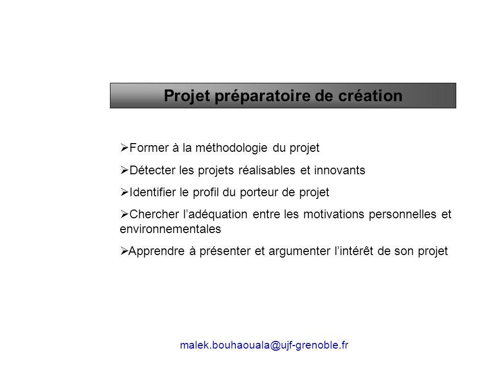 Former à la méthodologie du projet Détecter les projets réalisables et innovants Identifier le profil du porteur de projet Chercher ladéquation entre