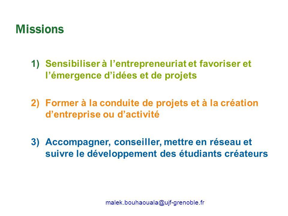 Missions 1)Sensibiliser à lentrepreneuriat et favoriser et lémergence didées et de projets 2)Former à la conduite de projets et à la création dentrepr