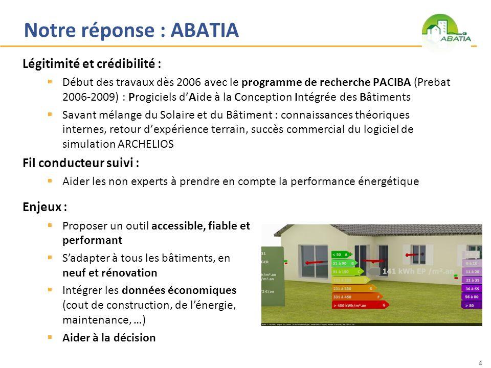 Notre réponse : ABATIA Légitimité et crédibilité : Début des travaux dès 2006 avec le programme de recherche PACIBA (Prebat 2006-2009) : Progiciels dA