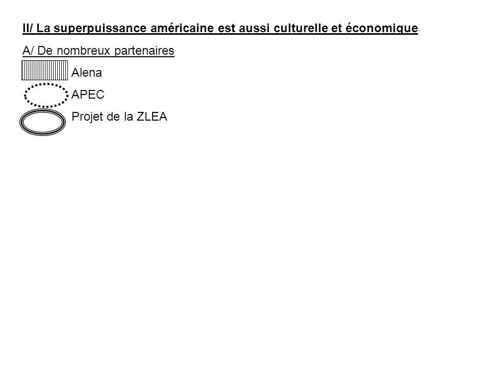 II/ La superpuissance américaine est aussi culturelle et économique A/ De nombreux partenaires Alena APEC Projet de la ZLEA