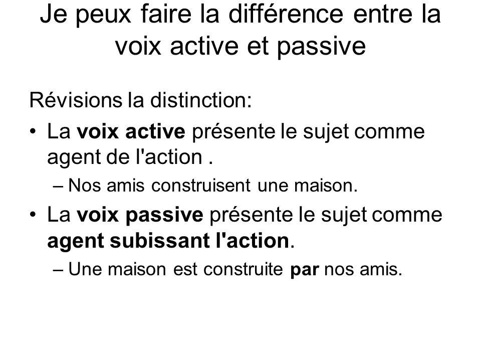 Je peux faire la différence entre la voix active et passive Révisions la distinction: La voix active présente le sujet comme agent de l action.