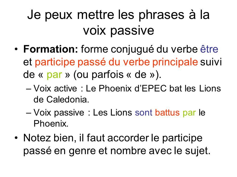 Je peux mettre les phrases à la voix passive Formation: forme conjugué du verbe être et participe passé du verbe principale suivi de « par » (ou parfois « de »).
