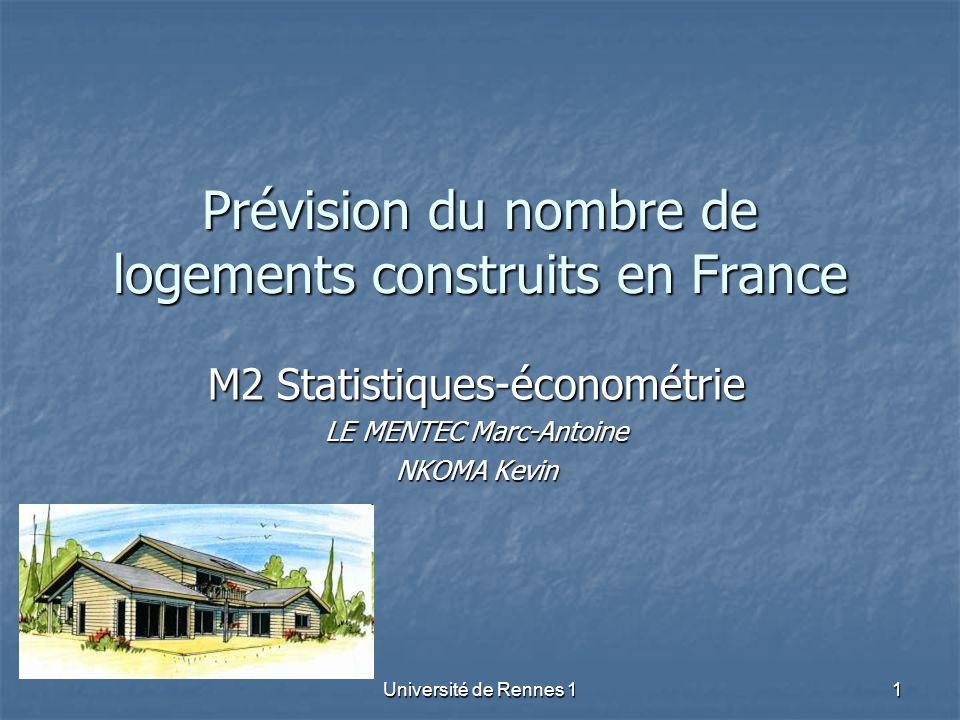 Université de Rennes 11 Prévision du nombre de logements construits en France M2 Statistiques-économétrie LE MENTEC Marc-Antoine NKOMA Kevin